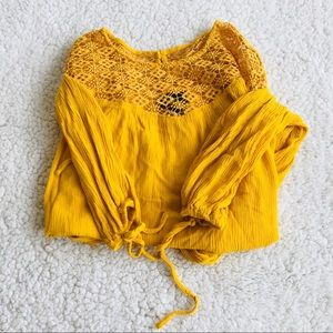 Mossimo | Mustard Lace Peasant Sleeve Top Sz Small